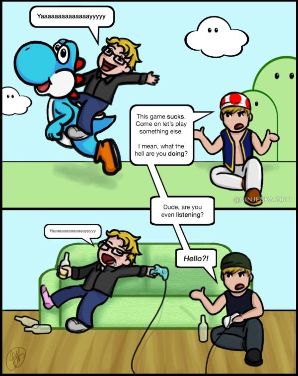 Comic Request - Riding a Blue Yoshi
