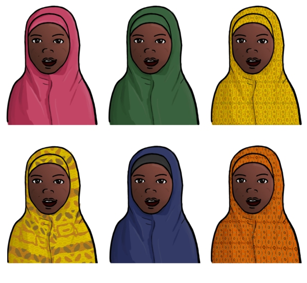 Six duplicate illustrations of a Somali Woman wearing a Chador (full body cloak that leaves the face exposed), each with varying patterns and colours.