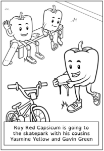 "Illustration of three cartoon capsicum characters. In the foreground one walks towards a bicycle while holding a helmet. In the background two sit on a bench together, one putting on roller-skates, while the other wears kneepads and sits with a skateboard. Caption reads ""Roy Red Capsicum is going to the skatepark with his cousins Yasmine Yellow and Gavin Green."""