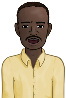 Illustration of a Somali man in a blue button-up shirt.