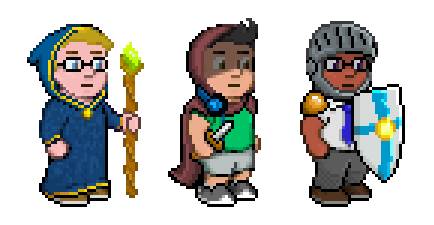 Blocky illustration of 3 characters. Left, a pale robed young wizard with glasses and a gnarled jeweled staff. Centre, a cloaked, dagger-weilding thief with headphones around his neck, & wearing a t-shirt, shorts and sneakers. Right, dark-skinned businessman with glasses and tie, wearing a knight's helmet, pauldrons and holding a shield.