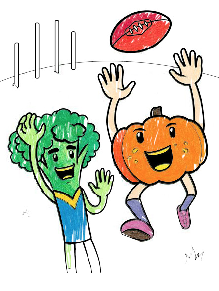 Thumbnail for a colouring-in page of two vegetables playing football