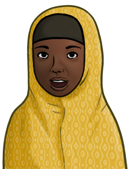 Illustration of a Somali woman wearing a yellow Chador headscarf covering.