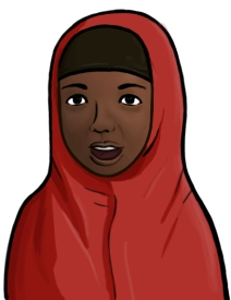 Illustration of a Somali woman wearing a red Chador headscarf covering.