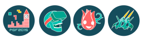 x4 Event Badges: Town Hall, a Skull, a flower and a Spaceship