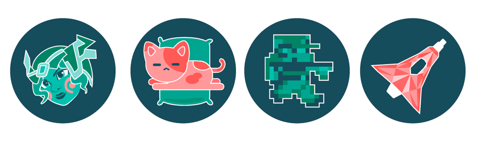 x4 Badges: D3bug character, Sleepy cat on a pile, 8-bit character, space ship