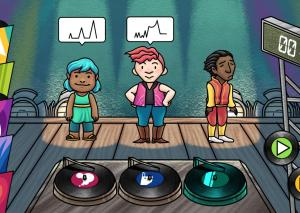 Game screenshot. 3 people stand under spotlights in front of 3 vinyl records. Above the first 2 people sit little bubbles containing waving lines representing sound waves, while the last person has no bubble and looks sad.