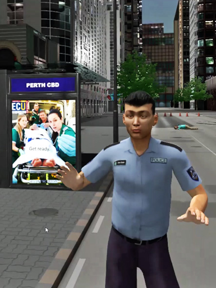 Screenshot of from Mass Casualty Simulator, featuring a police officer standing near a bus stop.
