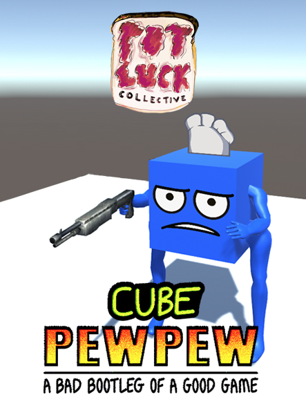 Thumbnail image of parody game Cube PewPew, made for the PotLuck Collective.