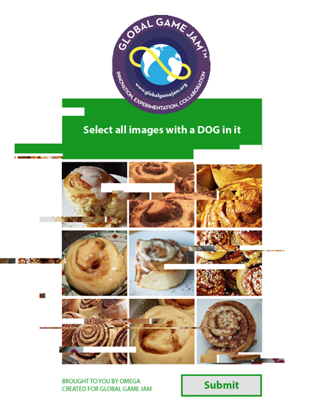 "Global Game Jam logo, beneath it sits a glitching image-recognition puzzle. The text instructions read ""Select all images with a dog in it"". Beneath it, a 3 by 3 grid of pictures depicting only cinnamon rolls."