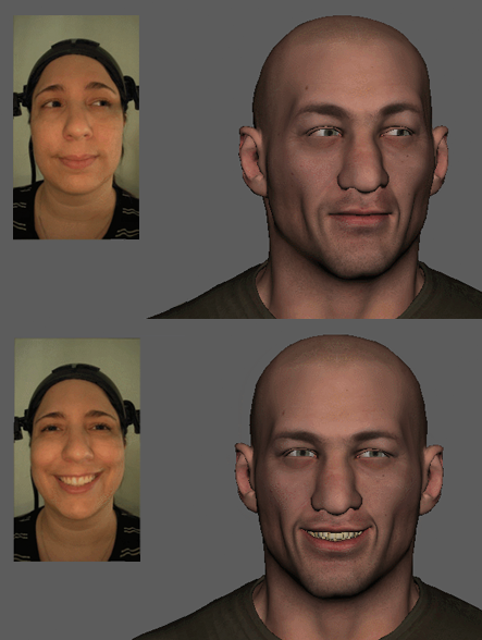 Two side-by-side images of Jessica with different facial expressions, next to a male digital character posed with the same expression.
