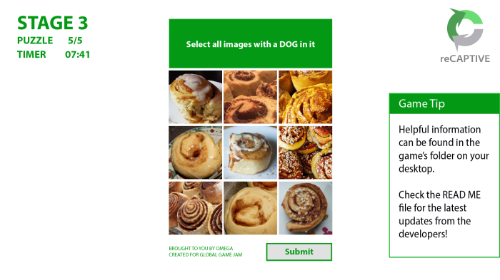 "Game screenshot with on-screen text reading ""Stage 3, Puzzle 5 of 5, Timer 7:41. Select all images with a dog in it"". Beneath it, a 3 by 3 grid of pictures depicting only cinnamon rolls."