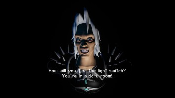 "Screenshot of The Guardian grinning menacingly. In front of him, the subtitle reads ""How will you find the light switch? You in a dark room!"""
