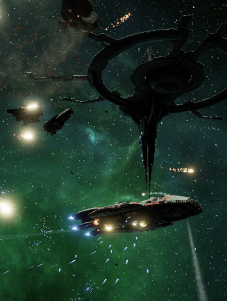 Screenshot from BattleStar Galactica Deadlock game. Star ships battle before a darkened research station, with an eerie green nebula in the background.