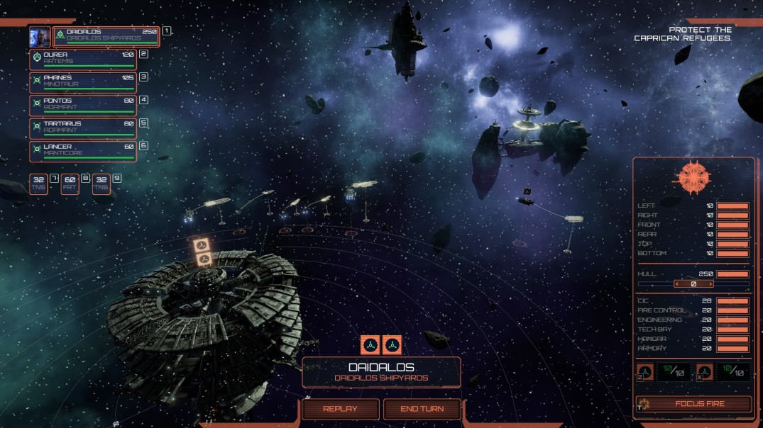 Gameplay screenshot from BSG Deadlock. A squadron of ships are directed toward a clouded mining facility.