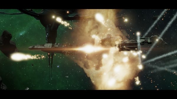 Screenshot from BSG Deadlock. A massive explosion with space ship parts flying off in all directions, underneath a large space station.