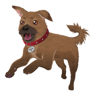 "Digital illustration of a small, scruffy dog bounding forward excitedly with mouth open. It has a collar with the name ""Brick"" on it, and details of the dog's wiry fur can be seen."