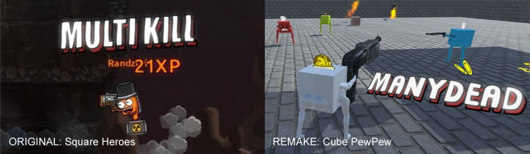 "Comparison images between Square Heroes text reading ""Multi Kill"" and CubePewPew text reading ""Many Dead"""