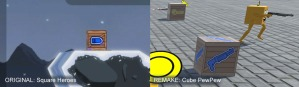 Comparison images between Square Heroes flat wooden crate with an image of a bullet on it, and a screenshot from Cube PewPew of a similar three dimensional crate with an image of a shotgun on it.