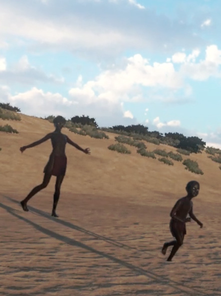 Thumbnail for Virtual Whadjuk, of an Aboriginal woman and child on a beach.