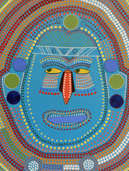 Thumbnail for a smiling face in an First Nation painting