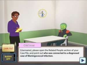 A bacteria-like character sits at a table, as the Chief detective questions them.
